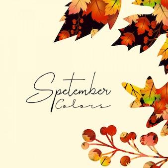 Hallo september herfst seizoen ontwerp vector