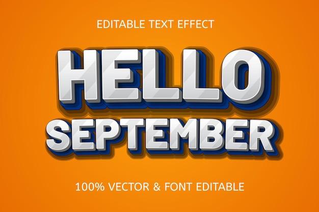 Hallo september kleur blauw wit bewerkbaar teksteffect
