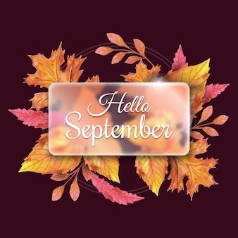 Hallo september op handgetekende droge bladeren