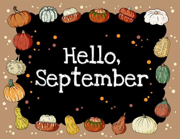 Hallo september schoolbord inscriptie schattige gezellige banner met pompoenen.