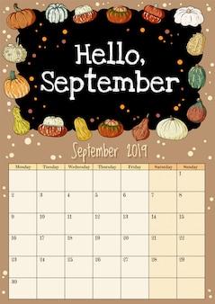 Hallo september schoolbord inscriptie schattige gezellige hygge 2019 maand kalender planner met pompoenen decor