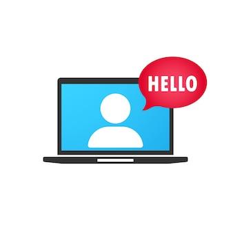 Hallo. spraak bubbel . online training in laptoppictogram in platte stijl. webinar. e leren pictogram. vector illustratie