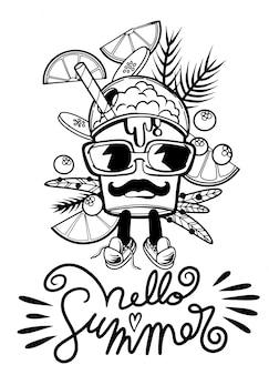 Hallo sumer met drank karakter doodle stijl