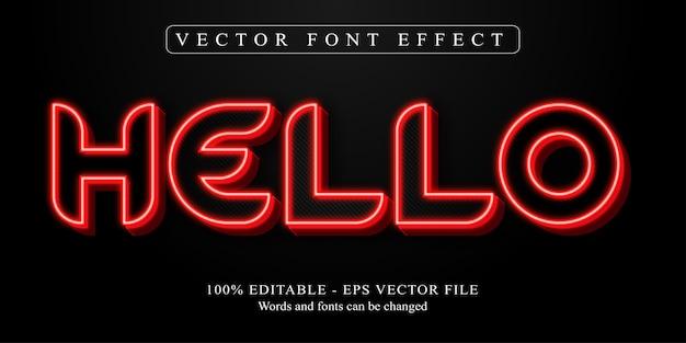 Hallo tekst, bewerkbaar teksteffect in neonstijl