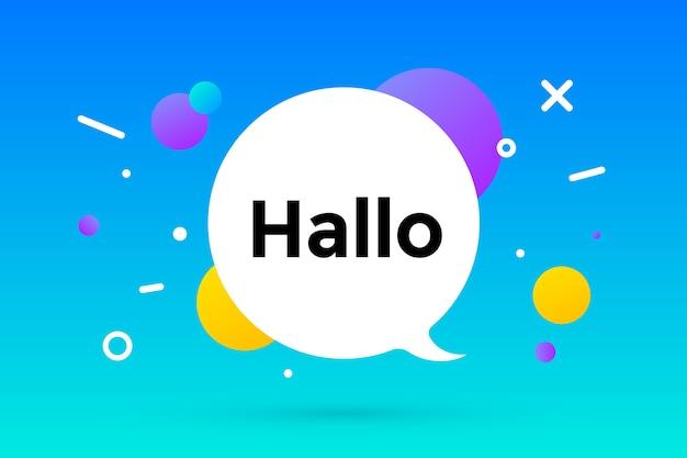 Hallo. tekstballon, geometrische memphis-stijl met tekst hallo. bericht hallo of hallo voor banner.