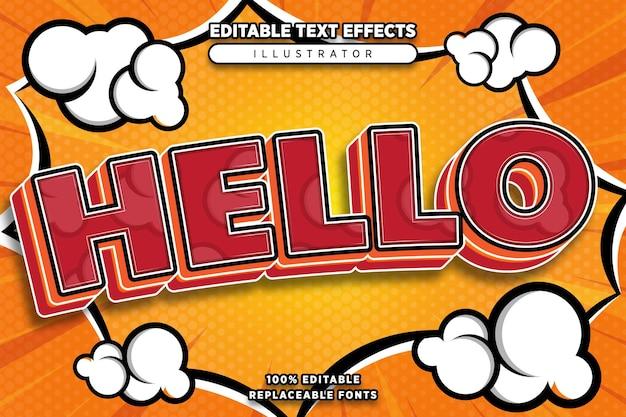Hallo teksteffect bewerkbaar in komische stijl