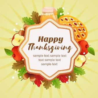 Hallo thanksgiving herfst kleurrijke appeltaart