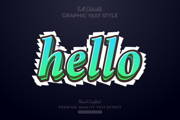 Hallo verloop bewerkbare premium teksteffect lettertypestijl