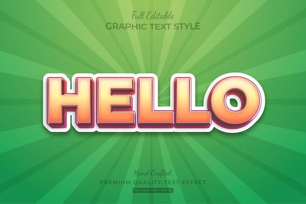 Hallo vet modern teksteffect bewerkbare premium-lettertypestijl