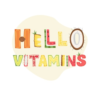 Hallo vitamines - belettering posterontwerp. illustratie.