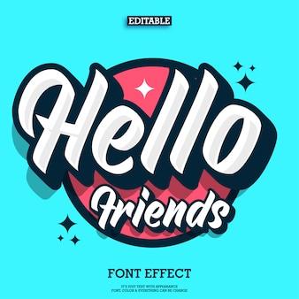 Hallo vrienden tekst effect met coole stedelijke jeugdstijl