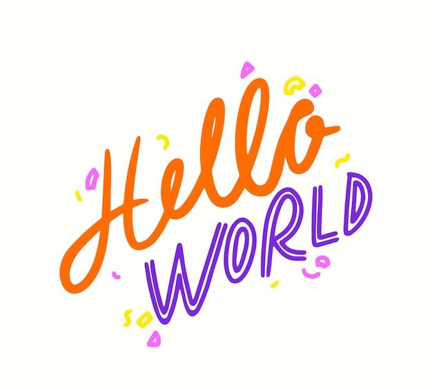Hallo wereld doodle belettering met confetti, banner met handgeschreven typografie voor pasgeboren baby shower wenskaart