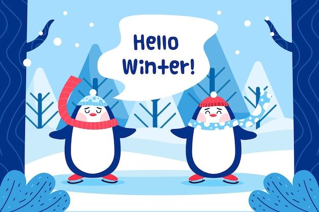 Hallo winter achtergrond in plat ontwerp