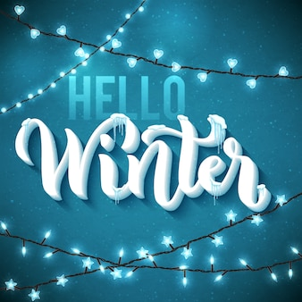 Hallo winter achtergrond met realistische, ijspegels en sprankelende kerstverlichting