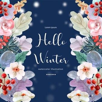 Hallo winter aquarel illustratie