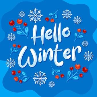 Hallo winter belettering gemaakt met sneeuw