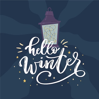 Hallo winter belettering met lamp