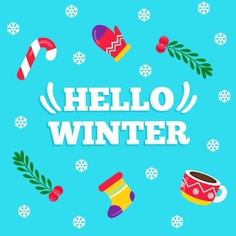 Hallo winter belettering op blauwe achtergrond