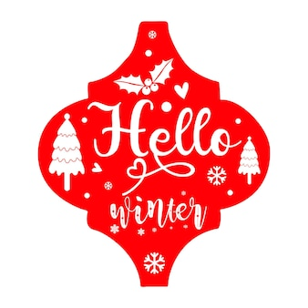 Hallo winter belettering premium vector design