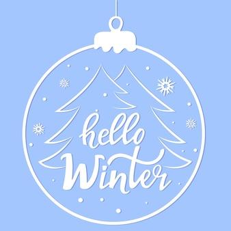 Hallo winter hand belettering. kerstbal. banner voor de verkoop van het nieuwe jaar.