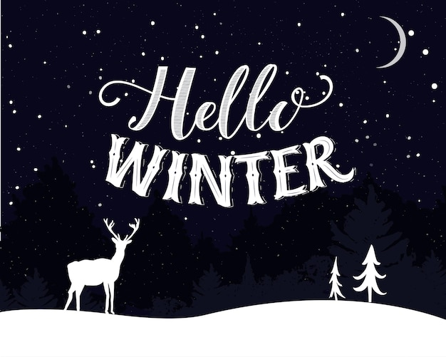 Hallo winter vintage ansichtkaartontwerp nachtlandschap met vallende sneeuwbomen en herten