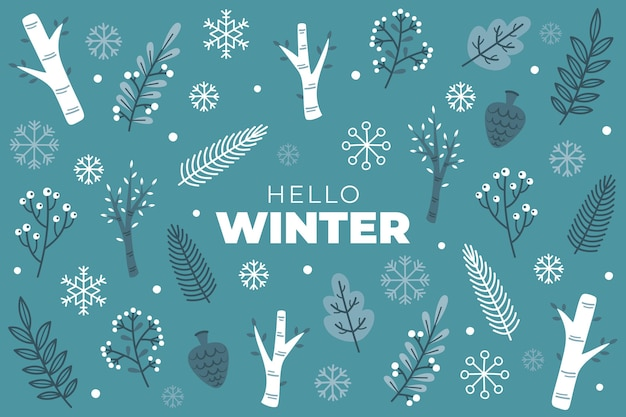 Hallo wintertekst op blauwe achtergrond
