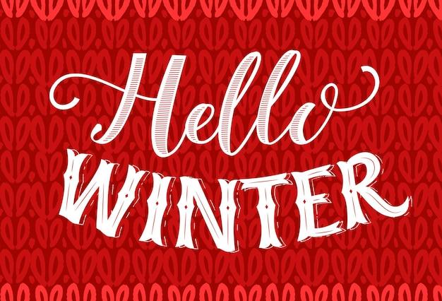 Hallo wintertekst op rode gebreide textuur. vintage spandoek met handschrift. winterseizoen vector retro kaart.