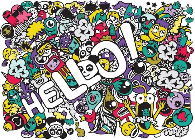 Hallo woord met schattige monster doodle stijl