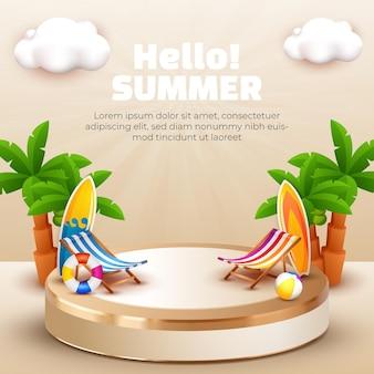 Hallo zomer 3d podium kokospalm en wolk voor sociale media-sjabloon voor zomerbanner