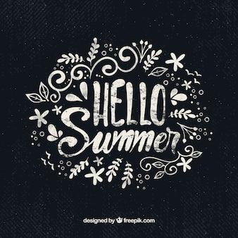 Hallo zomer achtergrond met belettering