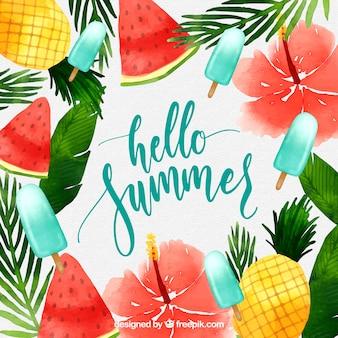 Hallo zomer achtergrond met ijsjes en fruit in aquarel stijl