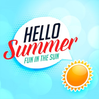 Hallo zomer achtergrond met zon