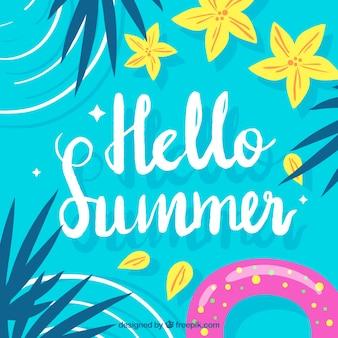 Hallo zomer achtergrond met zwembad bovenaanzicht