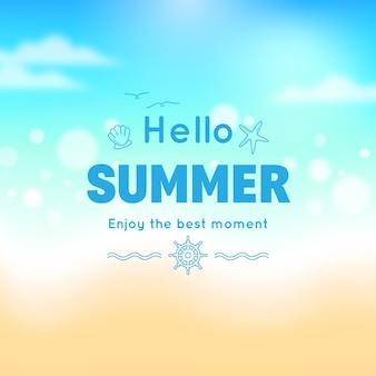 Hallo zomer achtergrond wazig