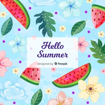 Hallo zomer aquarel achtergrond