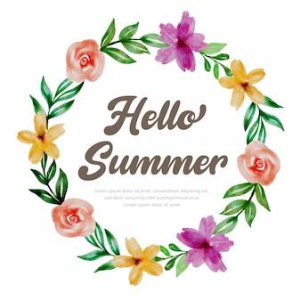 Hallo zomer aquarel bloemen krans ontwerp
