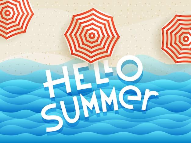 Hallo zomer banner met parasols en belettering logo