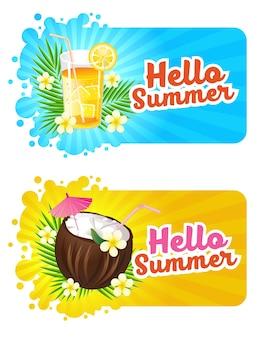 Hallo zomer banner met vers drankje