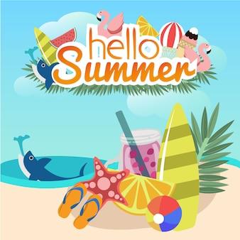 Hallo zomer banner ontwerp