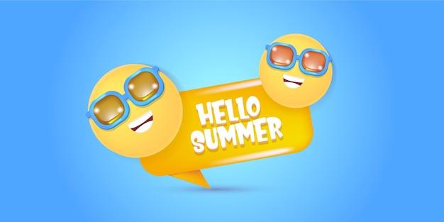 Hallo zomer banner ontwerpsjabloon met smileygezicht