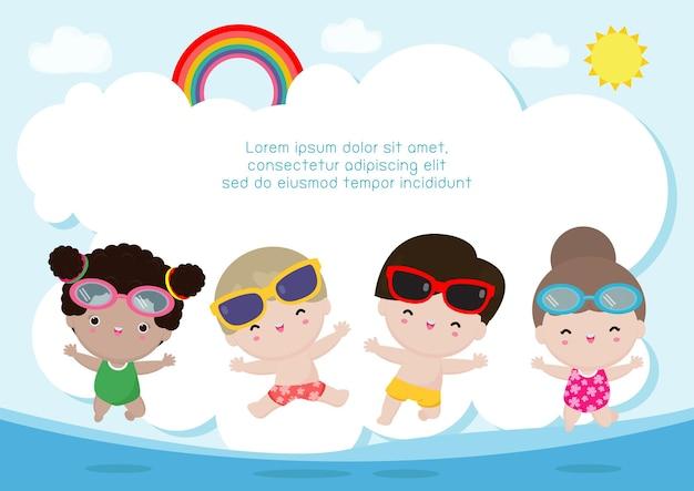 Hallo zomer banner sjabloon groep kinderen springen op het strand zomertijd ontspannen vakantie
