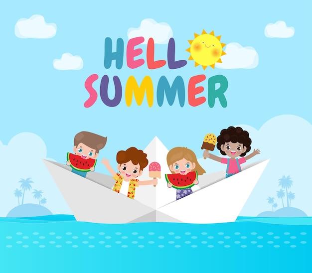 Hallo zomer banner sjabloon groep schattige kinderen ontspannen met ijs, watermeloen in papieren boot
