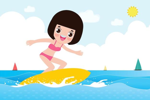 Hallo zomer banner sjabloon schattig surfer kind karakter met surfplank en rijden op oceaangolf