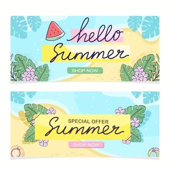Hallo zomer banner tropische korting verkoop vector ontwerpset
