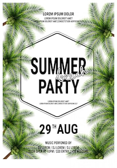 Hallo zomer beach party poster sjabloon of flyer ontwerp