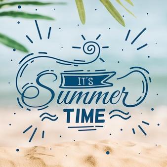 Hallo zomer belettering bericht concept