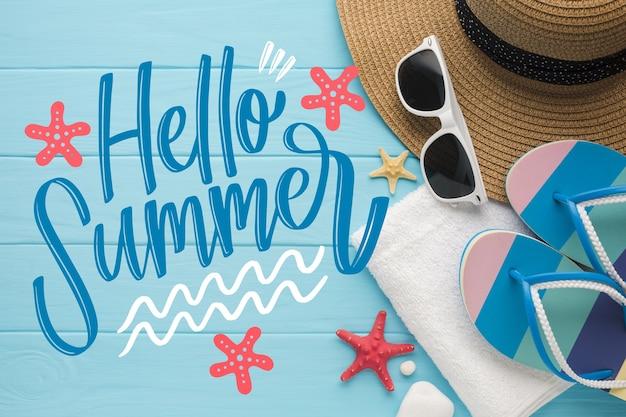 Hallo zomer belettering citaat