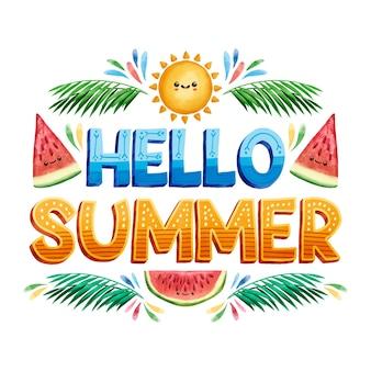 Hallo zomer belettering en plakjes watermeloen