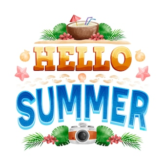 Hallo zomer belettering en vintage camera