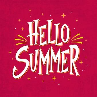 Hallo zomer belettering met glanzende sterren